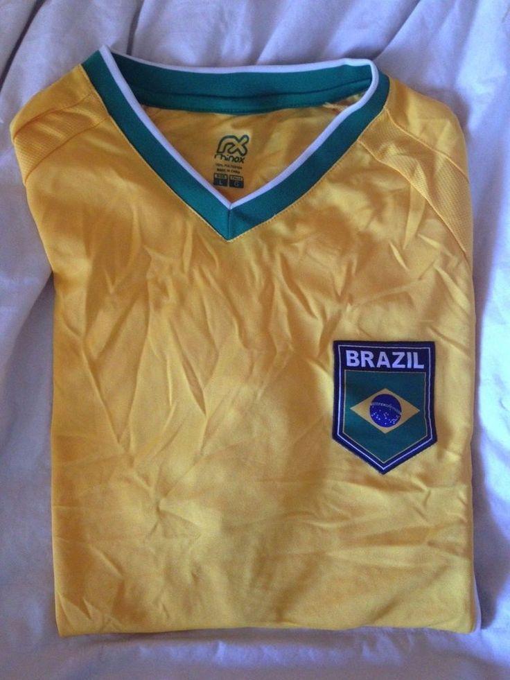 Retro Brazil soccer Jersey V-Neck T-Shirt  Size L Large 100% Polyester  #rhinox #VNeck