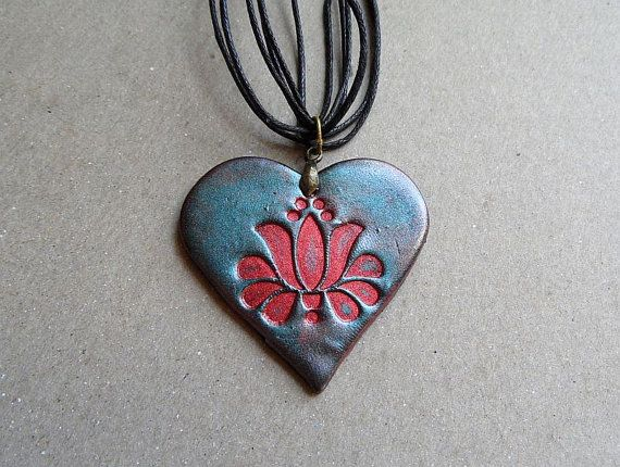 Heart necklace, Kalocsai tulip, Hungarian embroidery pattern, polymer clay jewelry, Valentine's day gift for her