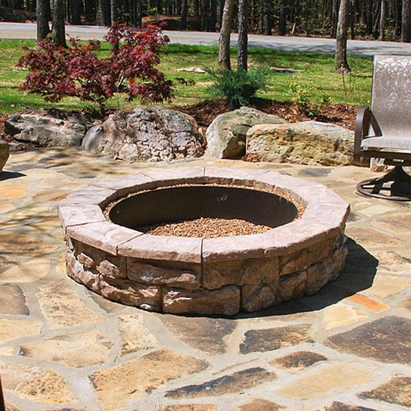 Best 25 stone fire pit kit ideas on pinterest fire pit for Precast concrete outdoor fireplace kits