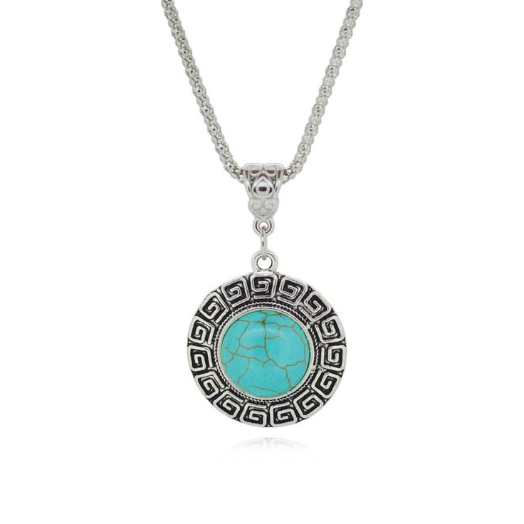Tibetan Silver Pendant for Women Turquoise Necklaces Round design Simple Style…