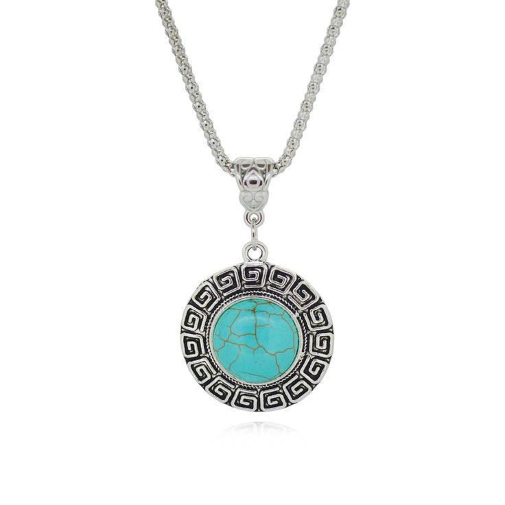 Тибетский серебряный кулон для женщин бирюзовый ожерелья круглый дизайн простой стиль женская старинное серебро имитация металла купить на AliExpress