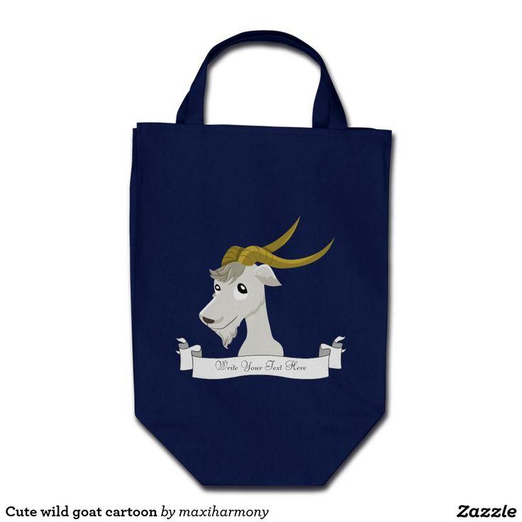 Cute wild goat cartoon grocery tote bag