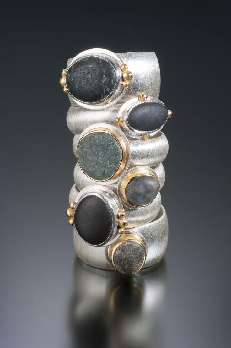 Beach pebble rings in sterling silver & 18K gold.