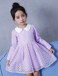Robe Fille de Quotidien Sortie Couleur Pleine Fleur Coton Polyester Printemps Automne Manches Longues simple Mignon Actif Violet Jaune