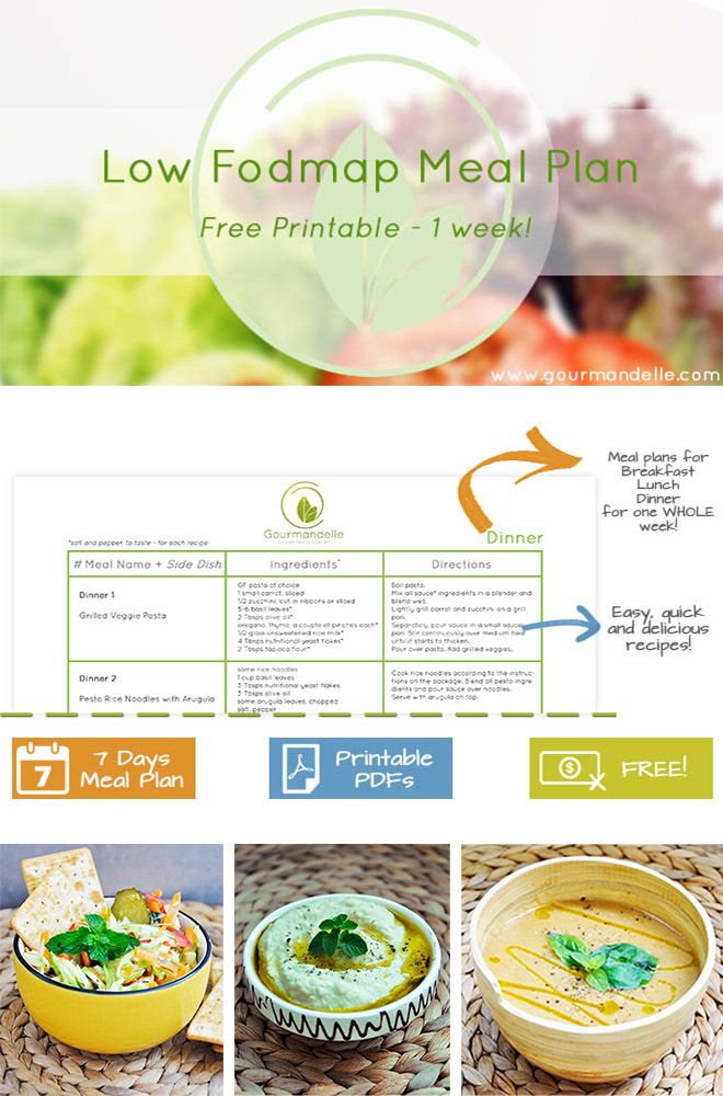 Here's a free low fodmap meal plan for you (vegan and gluten-free too!). The low fodmap diet plan is considered to be the best dietary approach for people suffering from IBS. Find awesome low fodmap recipes for one whole week! Free printable available to download! | gourmandelle.com | #fodmap #mealplan #fodmaprecipes