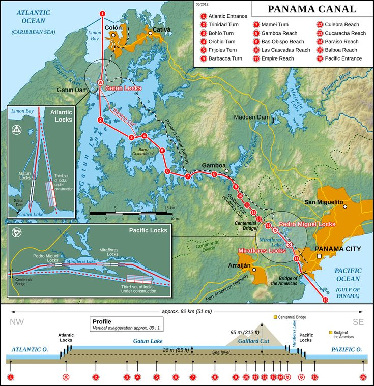 Detailed map of Panama Canal, showing locks under construction.