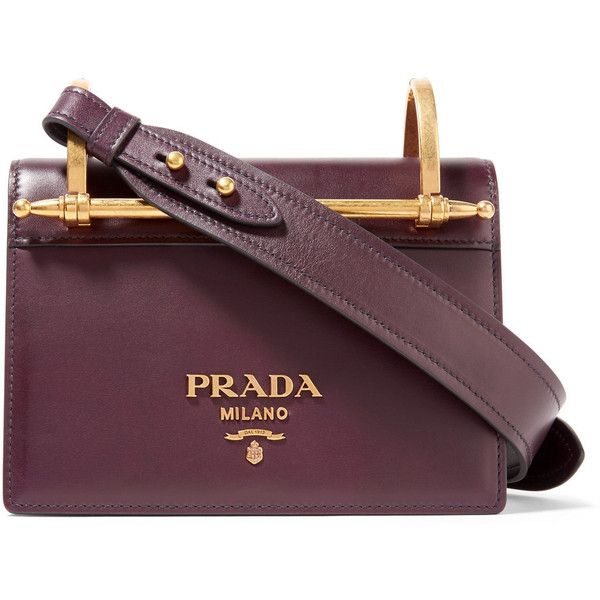 Prada Pattina leather shoulder bag (£1,590) ❤ liked on Polyvore featuring bags, handbags, shoulder bags, purple leather purse, evening purses, prada shoulder bag, cell phone purse and purple handbags