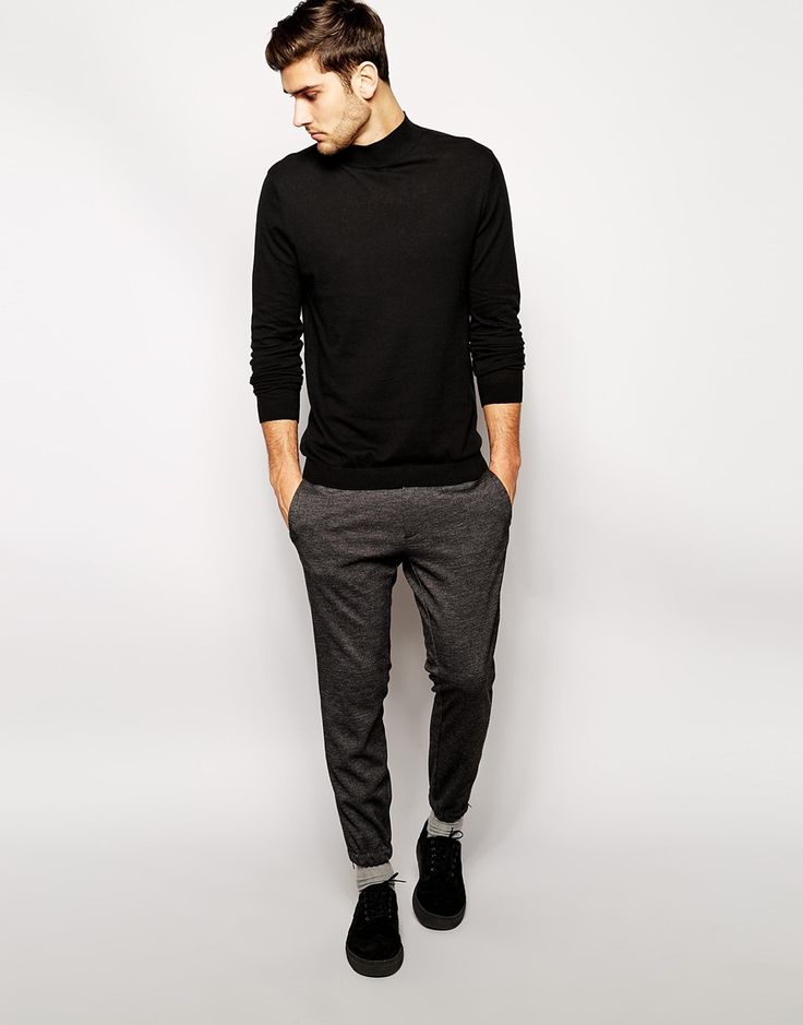 Image 4 of ASOS Turtleneck Jumper in Black Cotton