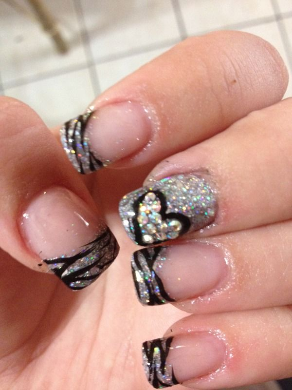 I'd just do the silver tip then the silver accent nail with the heart on it instead of the zebra design.