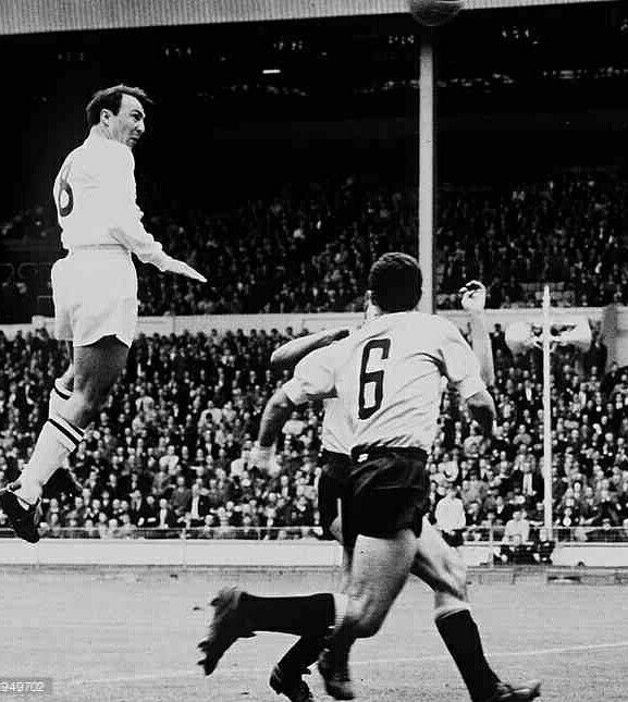 England 2 Uruguay 1 in May 1964 at Wembley. Jimmy Greaves heads over the bar in the friendly international.