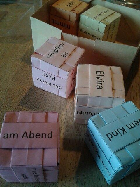 Origamiwürfel für den Satzbau