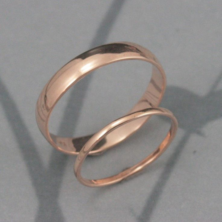 Through Thick and Thin Wedding Set--Solid 14K Gold Rounded Wedding Band Set--His and Hers Bands--Custom made in YOUR sizes by debblazer on Etsy