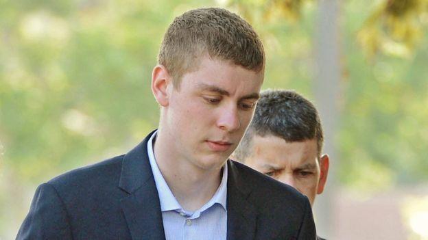 Brock Turner, 20, right, makes his way into the Santa Clara Superior Courthouse