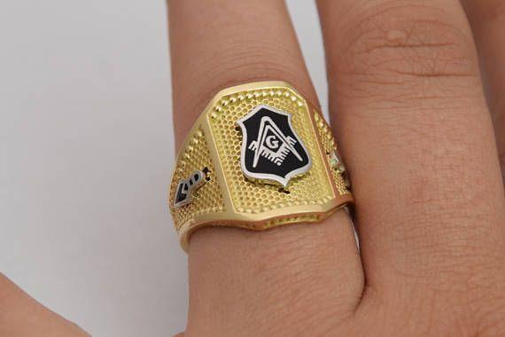 18k Masonic Ring Solid Gold Sovereign Ring 3D Ring Enamel