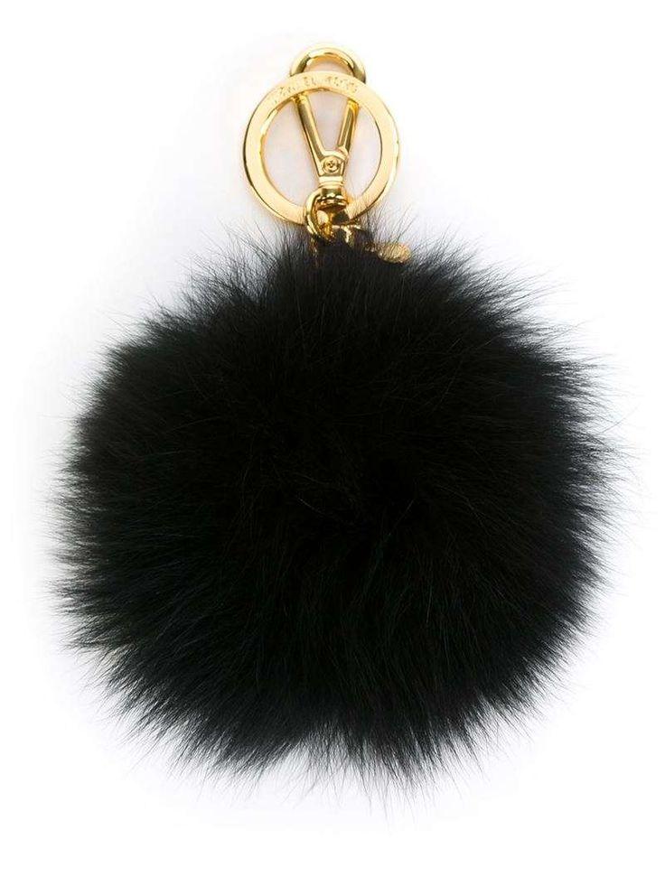 Black rabbit fur pom-pom keyring from Michael Michael Kors.