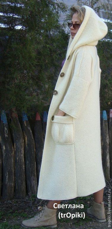 """Купить Авторское пальто вязаное """"Любимое""""-2 с капюшоном - белый, молочный, женская одежда"""