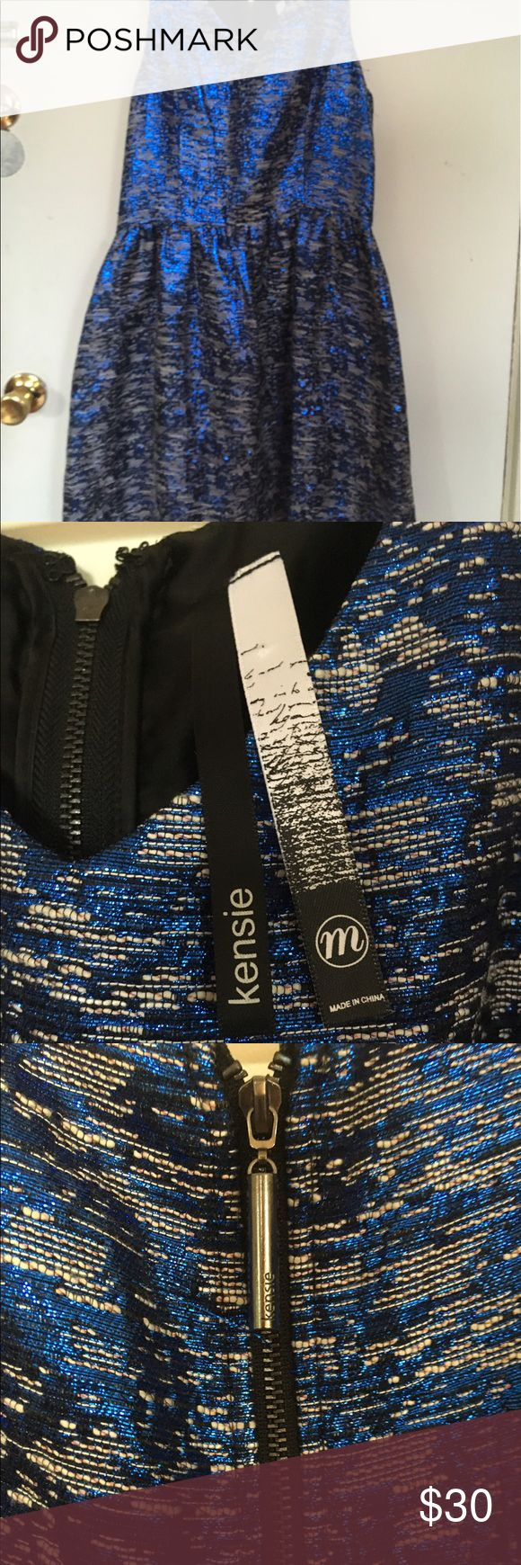 Blue, Silver and Black Sparkly Dress by Kensie This dress is SO sparkly and the colors are beautiful - very celebratory. It is brand new and has never been worn, but I did remove the tags before storing it. Fully-lined in black satin. Kensie Dresses Midi