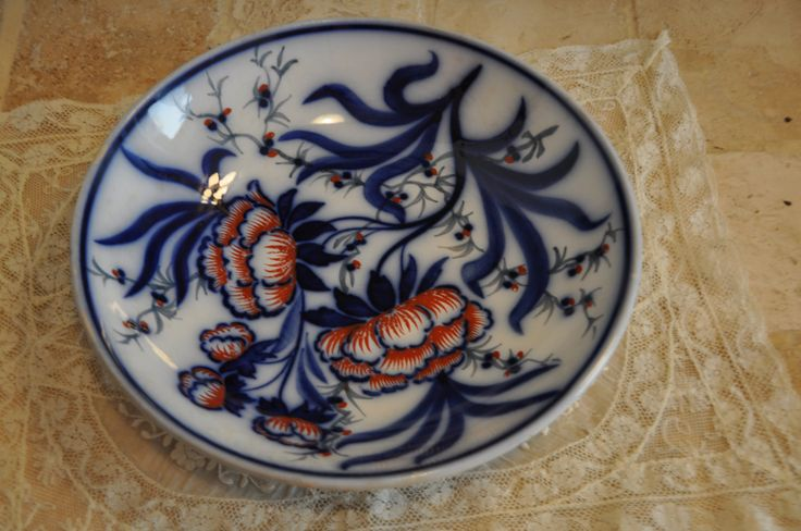 Asian Blue Bowl, French Porcelain, Blue Fruit Bowl, Asian Blue Bowl, Oriental Blue, Floral Decor, Red Flowers, Serving Dish, Made in France by FrenchArtAntiques on Etsy
