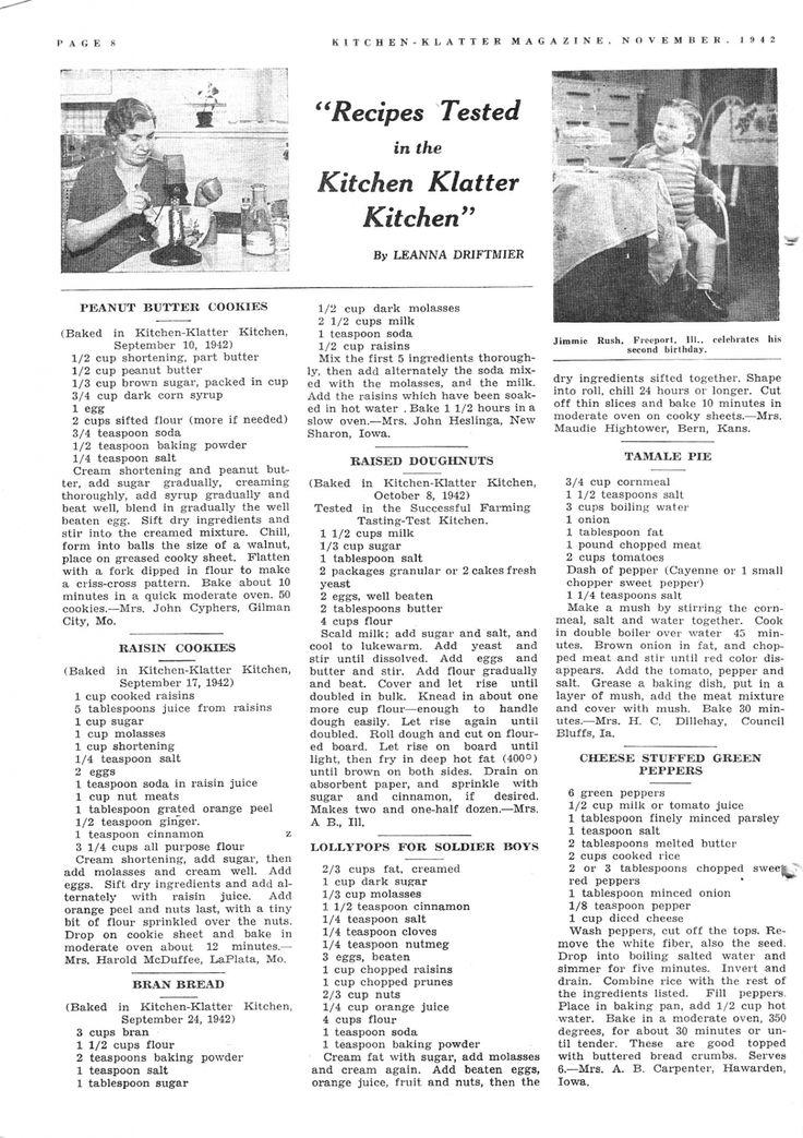 Kitchen Klatter Magazine, November 1942 Peanut Butter Cookies, Raisin Cookies, Bran Bread, Raised Doughnuts, Lollypops, Tamale Pie, Cheese Stuffed Green Peppers