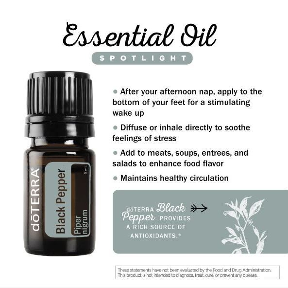 doTERRA Black Pepper Essential Oil - add to meats, soups, entries and salads to enhance food flavor. Available at http://mydoterra.com/brendahanson