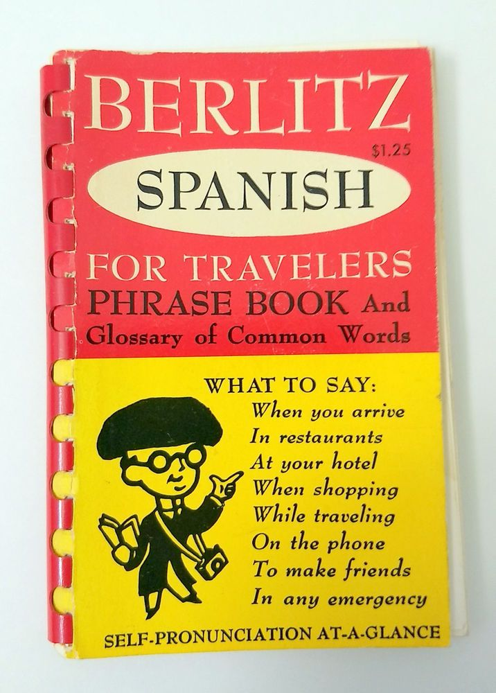 Vintage 1954 Berlitz Spanish for Travelers Phrase Pocket Book Glossary of Words