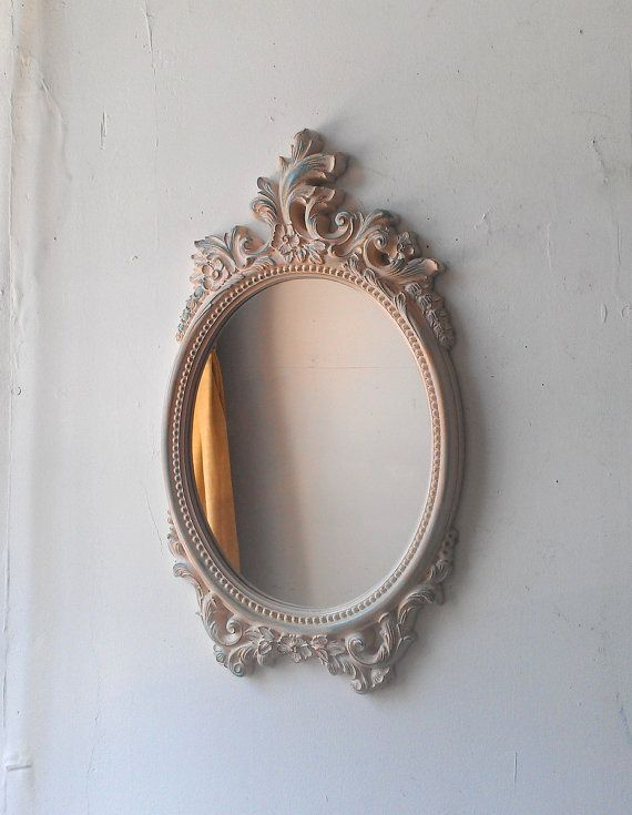Hand Painted Vintage Oval Wall Mirror 18 By 10 Inch