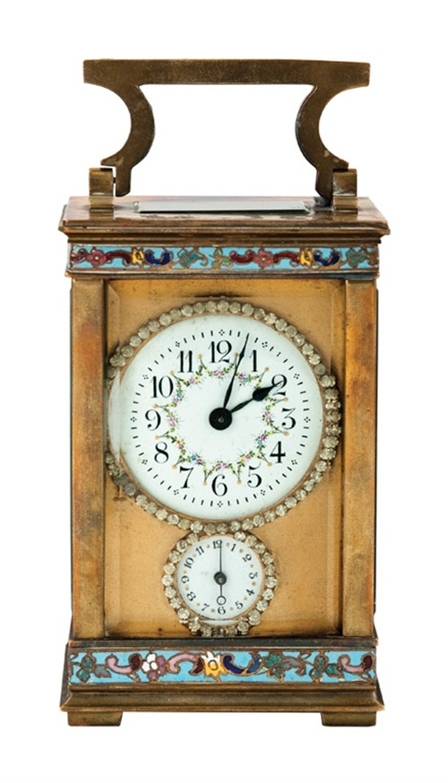 """""""A brass and enamel and jewelled carriage clock"""" by Unknown (Lot Number 338) 