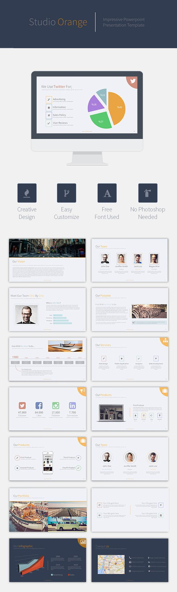 1763 best powerpoint template images on pinterest font logo buy orange studio powerpoint template by beckett on graphicriver general description creative slides free font used easy customize animated screen size toneelgroepblik Images
