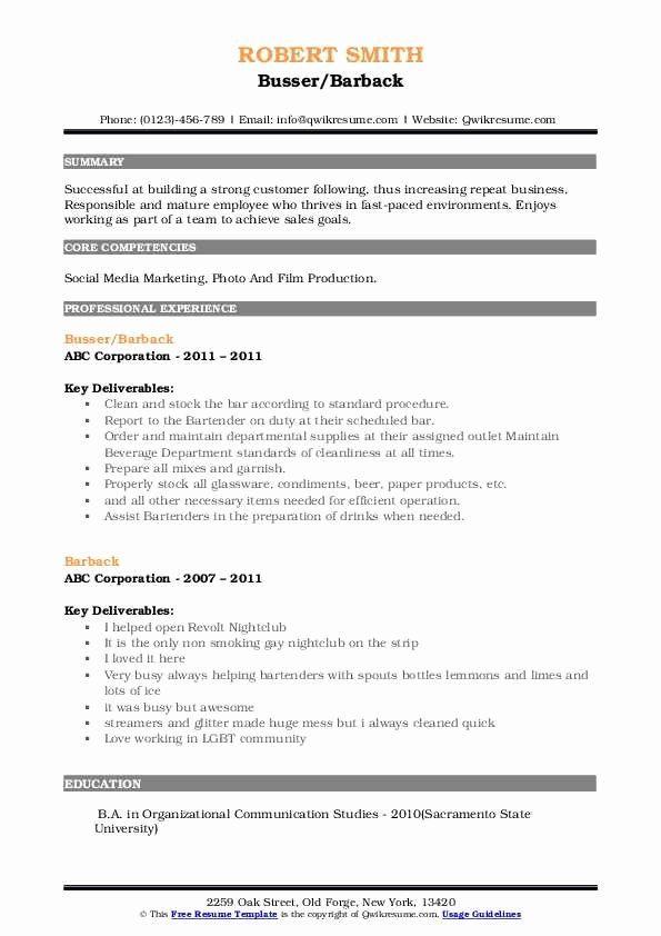 Busser Job Description Resume Best Of Barback Resume Samples In 2020 Job Description Job Resume Resume