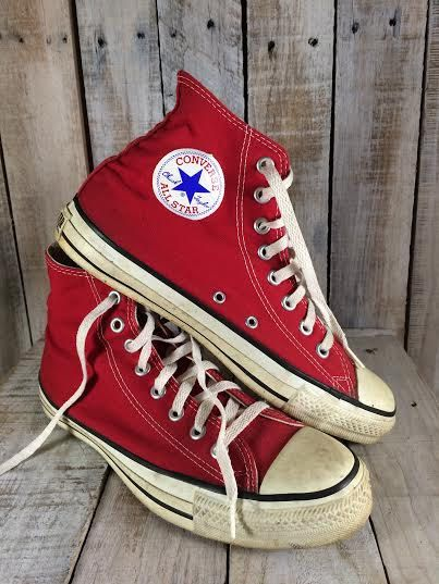 Red Chuck Taylors  Red High Tops  Red Converse  by BostonInventory
