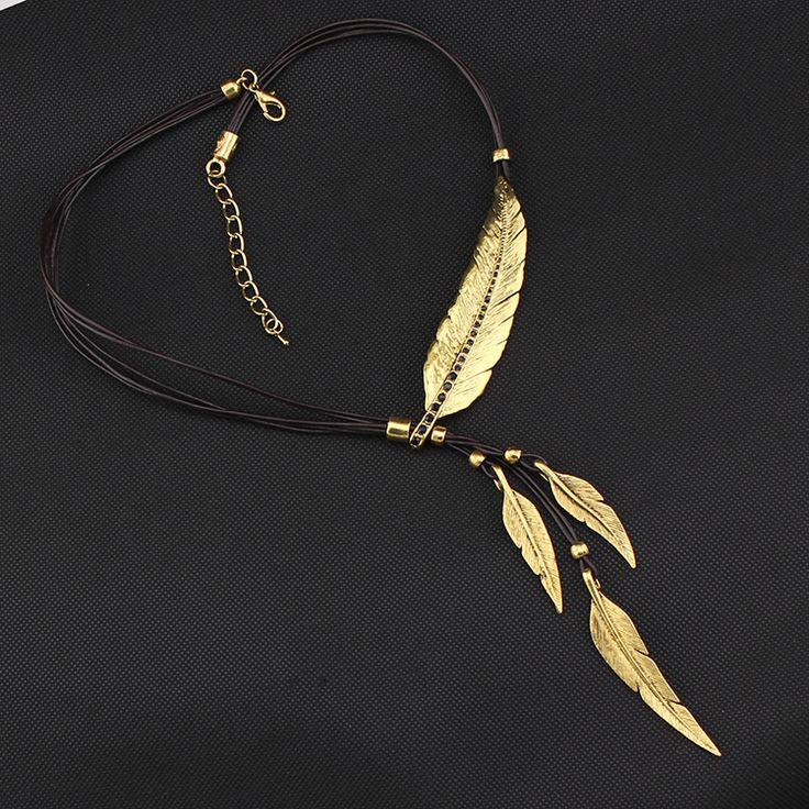 Винтаж ожерелье мода золото / серебро горный хрусталь перо ожерелье и подвески типа богема бохо кожаные ожерелья ожерелье женщинакупить в магазине T5 Accessories Co LtdнаAliExpress
