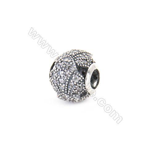 Sterling Silver Zircon European Beads x 1 Piece, Round , Diameter : 12mm  Hole 4mm