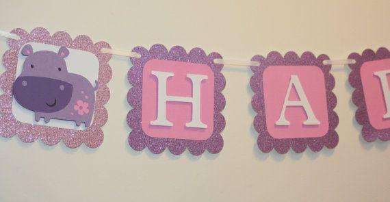 Glittery Purple Hippo Happy Birthday Banner,  Hippo Birthday,  Hippo Party, First Birthday, Hippo Baby Shower