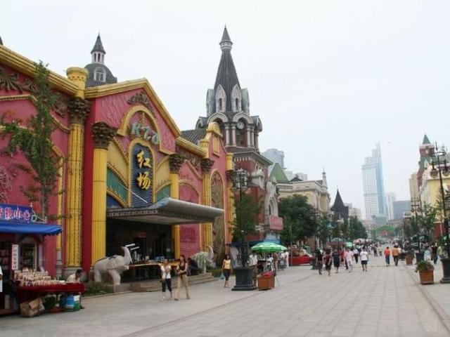 One of the more colorful Dalian streets