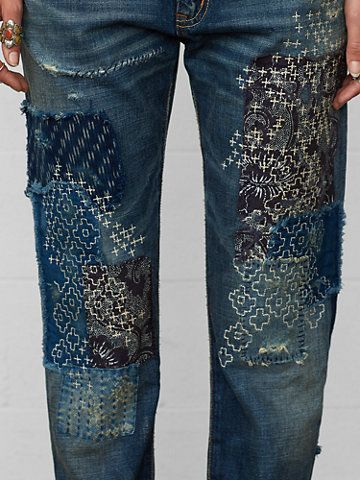 embroidery on jeans - mending and embellishment at once