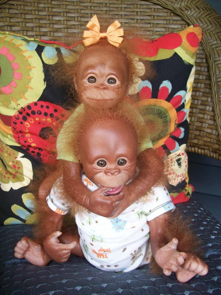 Reborn Monkey Twins Ebay Reborn Monkeys Pinterest