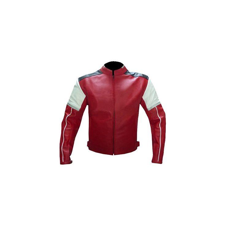 Red White Black Biker Leather Jacket