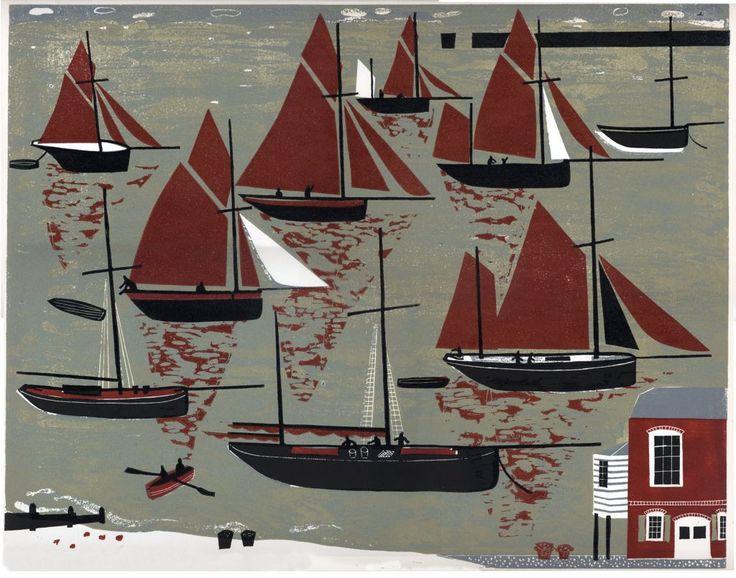 Whitstable Oyster Fleet #linocut