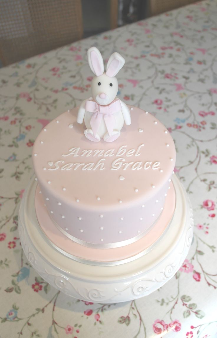 Pale Pink Bunny Christening cake