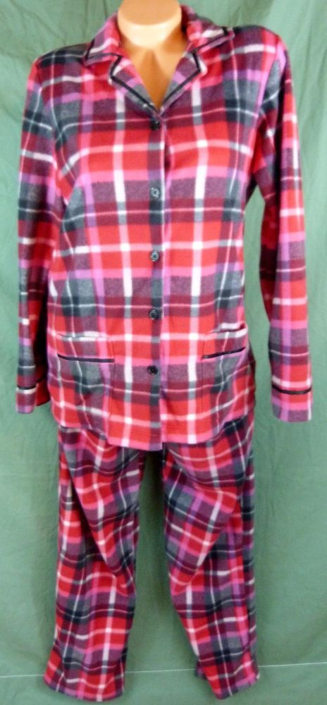 Anne Klein 2 P Soft Fleece Plaid Pajama Set Medium Red Black L/S Top Pants 10-12 #AnneKlein #PajamaSets #Everyday