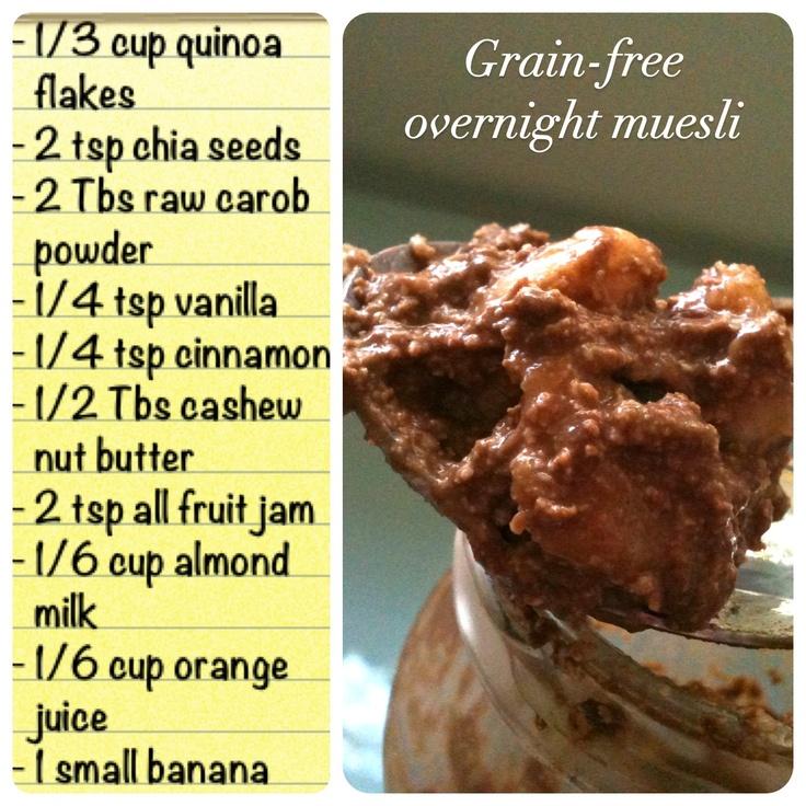 Breakfast! Carob & quinoa overnight muesli: high in calcium & protein...