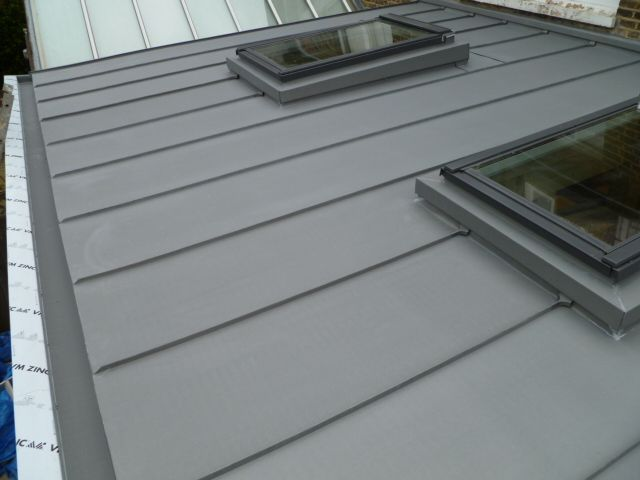 Vm Zinc Standing Seam With Box Gutter And Velux Roof