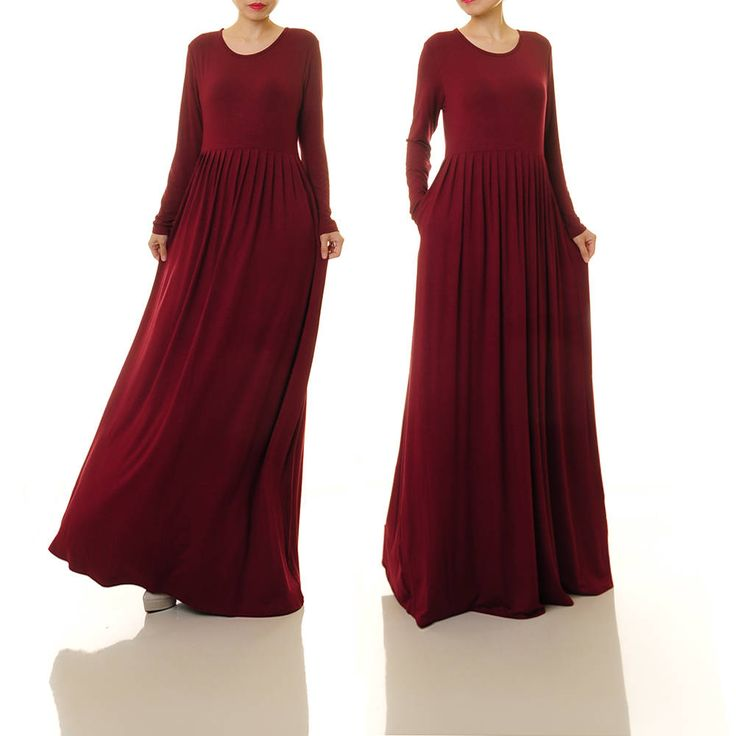 Long Burgundy Dress | Burgundy Maxi Dress Long Sleeve | Red Knit Dress With Pockets | Long Maroon Dress  Plus Size Maxi Dress Maternity 6195 by Tailored2Modesty on Etsy