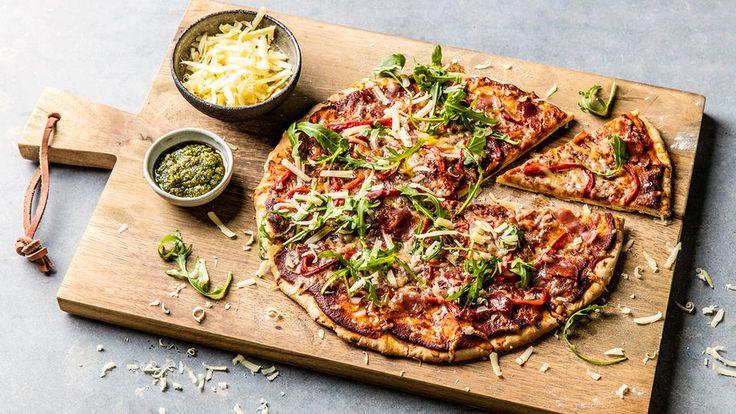 Pizza Rosso med spekeskinke