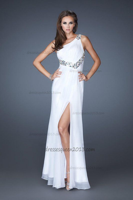 One Shoulder Discount White Long Open Back Homecoming Dress 2013 [White  Long One Shoulder Homecoming