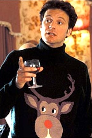 Colin Firth as Mark Darcy in awful Christmas jumper in Bridget Jones
