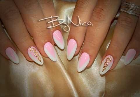 Pink,white nails