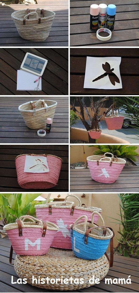 Una forma sencilla de personalizar un capazo para la playa #DIY #playa #verano http://lashistorietasdemama.blogspot.com.es/2013/09/mi-estreno-en-el-divertido-mundo-del-diy.html