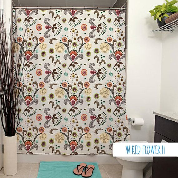 Wired Flower Pattern Shower Curtain. by JanetAnteparaDesigns