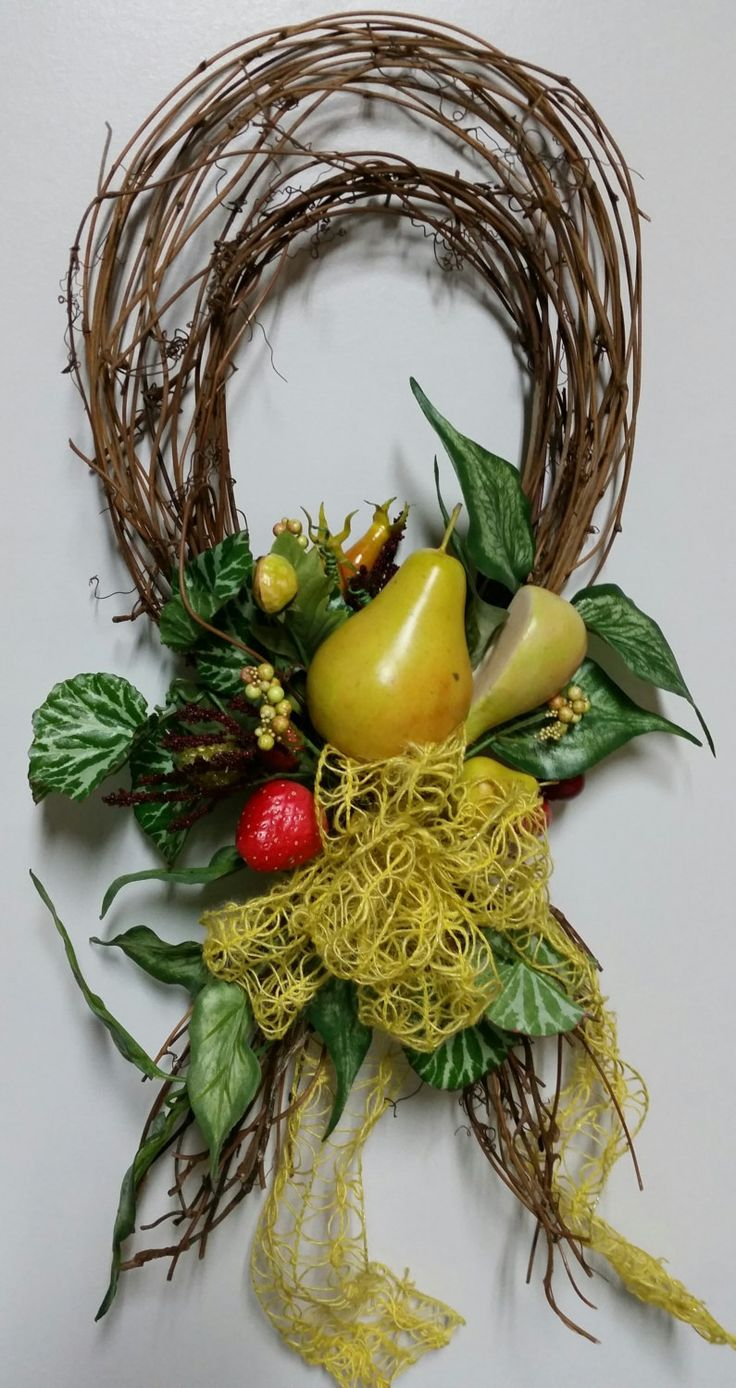 Kitchen and Dining room Decor, Tuscany Decor, Country Chic, Everyday, Summer Fruit, Primitive, Lite Weight, Grapevine, Bow Knot by CorrinnesCrafts on Etsy